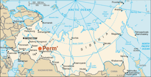 Position geographic de Perm in Russia