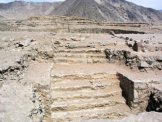 Norte Chico civilization - Remains of platform mound structures at Caral