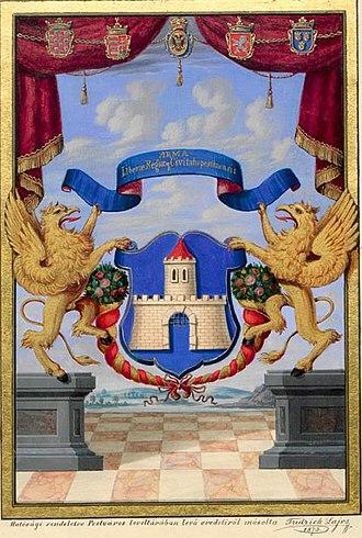 Pest, Hungary - Image: Pest város címere 1703