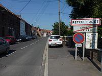 Petite-Forêt (Nord, Fr) city limit sign.JPG