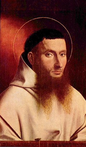 Portrait of a Carthusian - Portrait of a Carthusian before removal of the halo