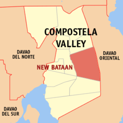 Map of Compostela Valley with New Bataan highlighted