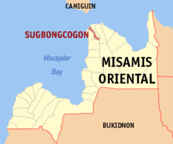 Map of Misamis Oriental with Sugbongcogon highlighted