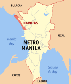 Map of Metro Manila showing the location of Navotas