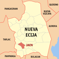 Map of Nueva Ecija showing Jaen