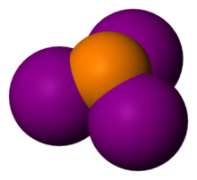 Space-filling model of the phosphorus triiodide molecule