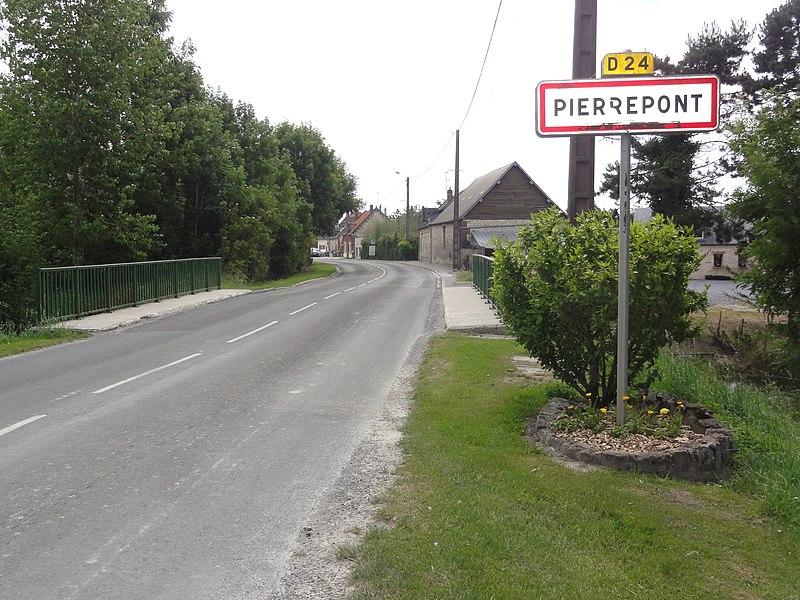 Pierrepont (Aisne) city limit sign, bridge over Souche River