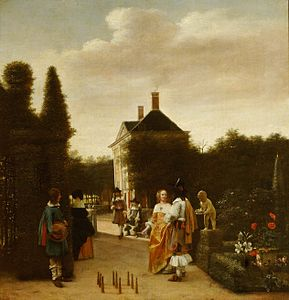 Pieter de Hooch, A Game of Ninepins, c. 1665 at Waddesdon Manor.jpg