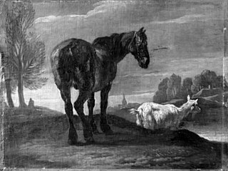 Landscape with Horse and a Goat