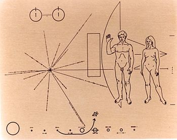 NASA image of Pioneer 10's famed Pioneer plaqu...
