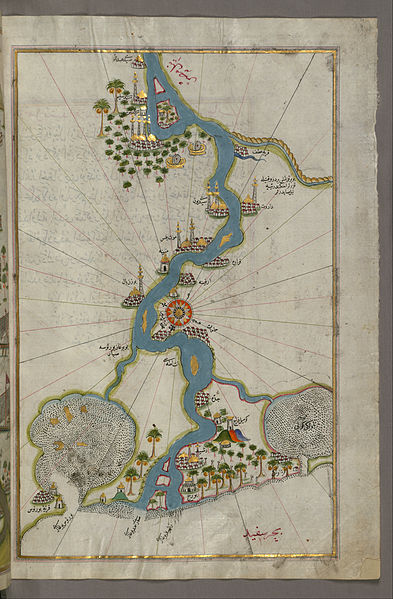File:Piri Reis - Map of the River Nile From Its Estuary South - Google Art Project.jpg