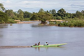 Pirogue on the Mekong in front of a submerged tree.jpg
