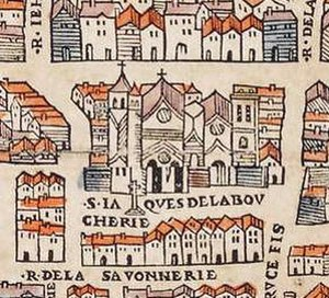 Saint-Jacques Tower - Saint-Jacques-de-la-Boucherie church on the map of Truschet and Hoyau (1550)