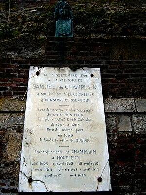 Samuel de Champlain - Plaque in Honfleur commemorating Champlain's departures