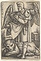 Plate 2- Saint Mark, his head turned in profile to the left, with an open book in his right hand and a lion at his feet, from 'The four evangelists' MET DP828550.jpg