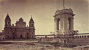 Cathedral of Guatemala City - Carlos III fountain and St. James Cathedral in Guatemala City in the 1875.  Photograph by Eadweard Muybridge.