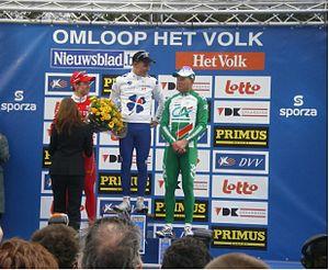 Omloop Het Nieuwsblad - Podium of the 2008 Omloop Het Volk: Nick Nuyens, Philippe Gilbert and Thor Hushovd.