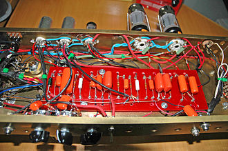Point-to-point construction - Point to point wiring on a homemade tube amplifier circuit.
