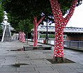 Polka dotted tree trunks outside the Royal Festival Hall - geograph.org.uk - 1397603.jpg