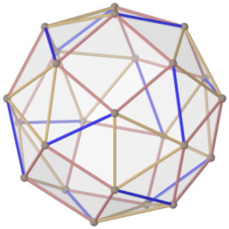 Snub cube - The snub cube has no point symmetry, so the vertex in the front does not correspond to an opposite vertex in the back.