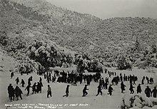 Useat kymmenet opiskelijat liikkuvat erämaalla metsäisellä vuorenrinteellä noin jalan äskettäisen lumisateen kanssa