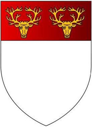 Popham, Hampshire - Arms of Popham: Argent, on a chief gules two stag's heads cabossed or