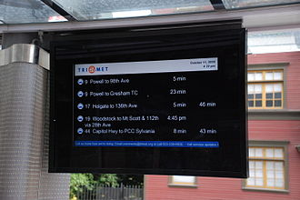 Passenger information system - Information display in a shelter at a TriMet bus stop in downtown Portland, Oregon
