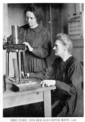 Working parent - Nobel laureates and working mothers Marie Curie and her daughter Irène Joliot-Curie