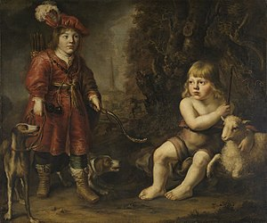 Portraits of two boys in a landscape, one dressed as a hunter, the other as St. John the Baptist