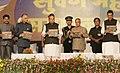 Pranab Mukherjee releasing a booklet, at the valedictory function of Golden Jubilee of Dayanand Education Society, in Latur, Maharashtra. The Governor of Punjab, Shri Shivraj Patil, the Governor of Maharashtra.jpg