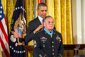 Timeline of the presidency of Barack Obama (2014) - Jose Rodela receiving the Medal of Honor from President Obama, March 18, 2014