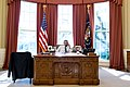 President Barack Obama talks on the phone with President Beji Caid Essebsi of Tunisia during a foreign leader call in the Oval Office.jpg
