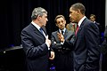 President Barack Obama talks with British Prime Minister Gordon Brown and French President Nicolas Sarkozy prior to making a statement about Iran.jpg