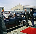President John F. Kennedy and Fulbert Youlou, President of the Republic of Congo (Brazzaville), in a Lincoln Convertible During Arrival Ceremonies.jpg