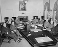 President Truman and his cabinet in the Cabinet Room of the White House. Clockwise around table from left, Secretary... - NARA - 199650.tif