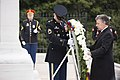 President of Colombia lays a wreath at the Tomb of the Unknown Soldier in Arlington National Cemetery (24189822994).jpg