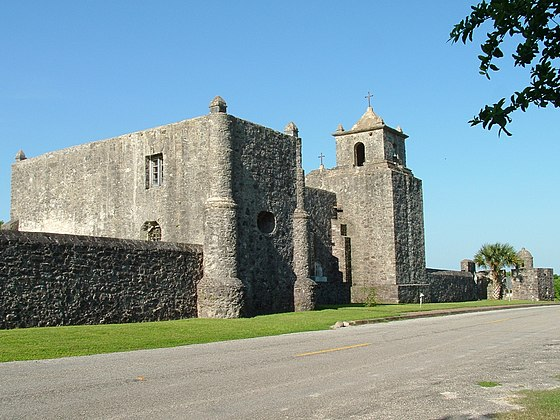 Presidio La Bahia National Historic Site where soldiers of the defeated Texian Army were executed en masse by forces of the Centralist Republic of Mexico Presidio La Bahia.jpg
