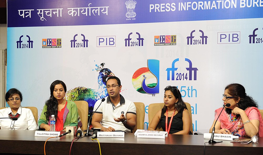 "Press conference by Mrituniay Devvrat, Director of the film ""CHILDREN OF WAR"" Soumya Joshi Devvrat, Producer and Actress Tillotma Shome, at the 45th International Film Festival of India (IFFI-2014), in Panaji, Goa.jpg"