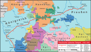 Prussian semaphore system - full route of the telegraph line across Germany