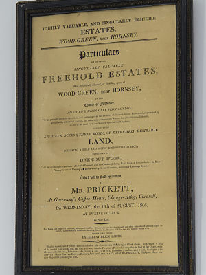 Wood Green - Sales Particulars used by Prickett and Ellis in 1806 in the sale of 'wood green'.