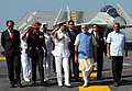 Prime Minister Narendra Modi on board INS Vikramaditya being briefed by Chief of the Naval Staff Adm RK Dhowan at the Combined Commanders' Conference 2015.JPG