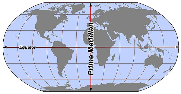 Meridians run between the North and South poles. Primemeridian.jpg