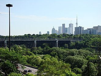 Toronto ravine system - The Don Valley with Prince Edward Viaduct overhead the Don Valley Parkway. As the city grew, the area surrounding the Don River saw the largest transformation amongst the city's ravine systems.