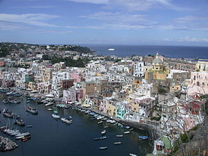 Italy - island of Procida - Little harbour of ...