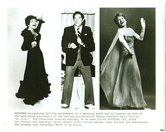 Connie Haines - Publicity photo for G.I. Jive Musical Special (1980) featuring Haines, Andy Russell, and Hildegarde!