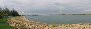 Pulau Semakau - Panoramic view of Phase 2 wet cell of the Semakau Landfill from the western rock bund.