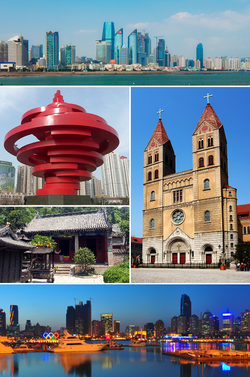 Clockwise from top left: Qingdao skyline, St. Michael's Cathedral, Qingdao harbour by night, a temple at the base of Mount Lao, and May Fourth Square