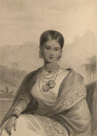 Sri Vikrama Rajasinha of Kandy - Rangammal Devi, Queen Consort. Drawn by William Daniell in 1800s.