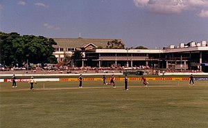 Queensland cricket team - Queensland Bulls versus Victorian Bushrangers in a limited overs one-day cricket match at the 'Gabba during the mid-1980s