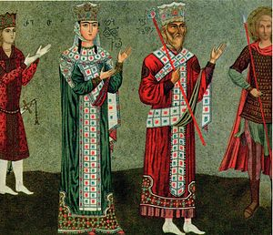 La reina Tamar y su padre el rey Jorge III (fresco restaurado del monasterio de Betania)